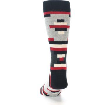 Image of Black Grey Red Partial Stripes Men's Dress Socks (back-17)
