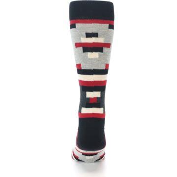 Image of Black Grey Red Partial Stripes Men's Dress Socks (back-18)