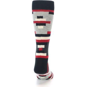 Image of Black Grey Red Partial Stripes Men's Dress Socks (back-19)