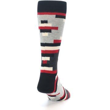 Image of Black Grey Red Partial Stripes Men's Dress Socks (side-1-back-20)