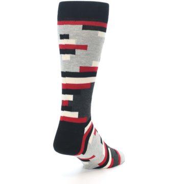 Image of Black Grey Red Partial Stripes Men's Dress Socks (side-1-back-21)