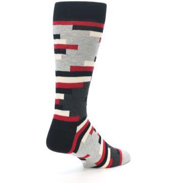 Image of Black Grey Red Partial Stripes Men's Dress Socks (side-1-back-22)