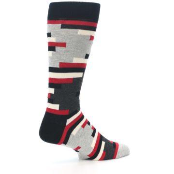 Image of Black Grey Red Partial Stripes Men's Dress Socks (side-1-23)