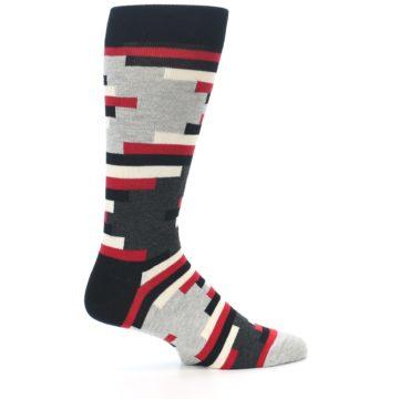 Image of Black Grey Red Partial Stripes Men's Dress Socks (side-1-24)