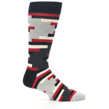 Image of Black Grey Red Partial Stripes Men's Dress Socks (side-1-25)