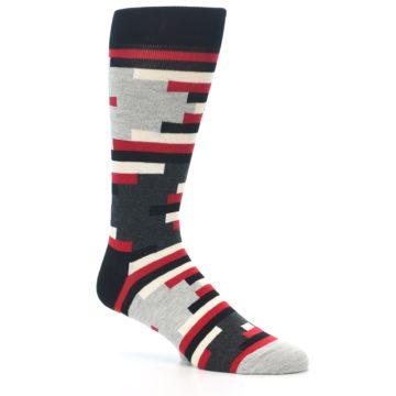 Image of Black Grey Red Partial Stripes Men's Dress Socks (side-1-26)