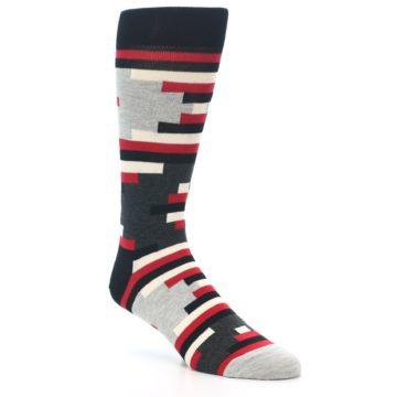 Image of Black Grey Red Partial Stripes Men's Dress Socks (side-1-27)