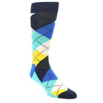 Image of Blues Yellow Argyle Men's Dress Socks (side-1-front-01)