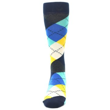 Image of Blues Yellow Argyle Men's Dress Socks (front-05)