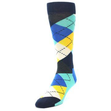 Image of Blues Yellow Argyle Men's Dress Socks (side-2-front-07)