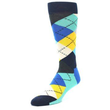 Image of Blues Yellow Argyle Men's Dress Socks (side-2-front-08)