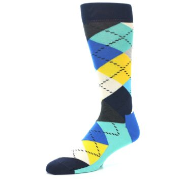 Image of Blues Yellow Argyle Men's Dress Socks (side-2-09)