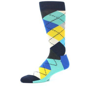 Image of Blues Yellow Argyle Men's Dress Socks (side-2-10)
