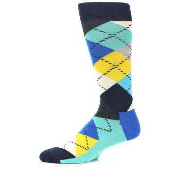 Image of Blues Yellow Argyle Men's Dress Socks (side-2-11)