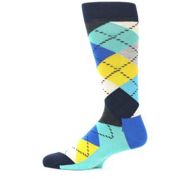Image of Blues Yellow Argyle Men's Dress Socks (side-2-12)