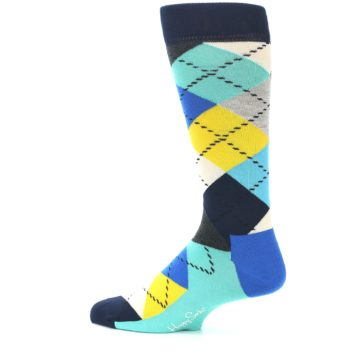 Image of Blues Yellow Argyle Men's Dress Socks (side-2-13)