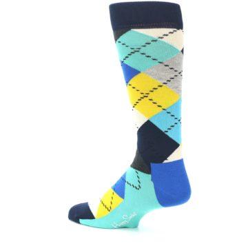 Image of Blues Yellow Argyle Men's Dress Socks (side-2-back-14)