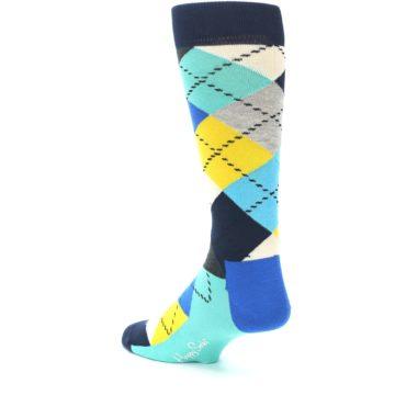 Image of Blues Yellow Argyle Men's Dress Socks (side-2-back-15)