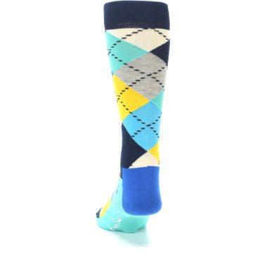 Image of Blues Yellow Argyle Men's Dress Socks (back-17)
