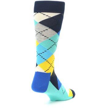 Image of Blues Yellow Argyle Men's Dress Socks (side-1-back-21)