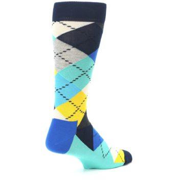 Image of Blues Yellow Argyle Men's Dress Socks (side-1-back-22)