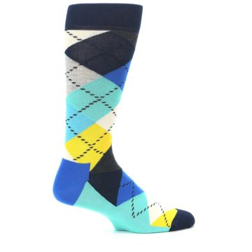Image of Blues Yellow Argyle Men's Dress Socks (side-1-24)