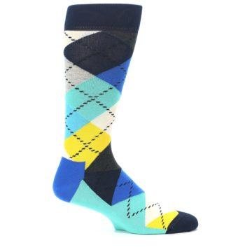 Image of Blues Yellow Argyle Men's Dress Socks (side-1-25)