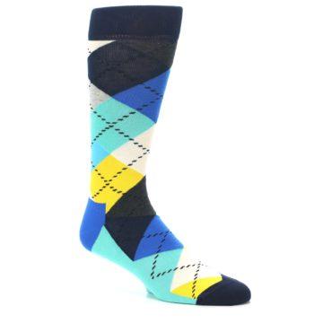 Image of Blues Yellow Argyle Men's Dress Socks (side-1-26)