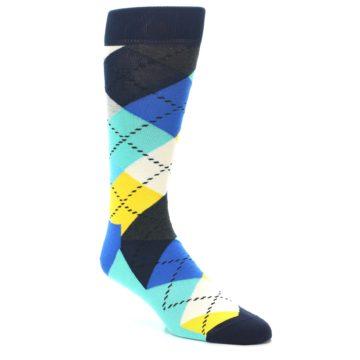 Image of Blues Yellow Argyle Men's Dress Socks (side-1-27)