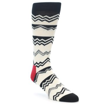 Image of Black White Zig-Zag Stripe Men's Dress Socks (side-1-front-01)