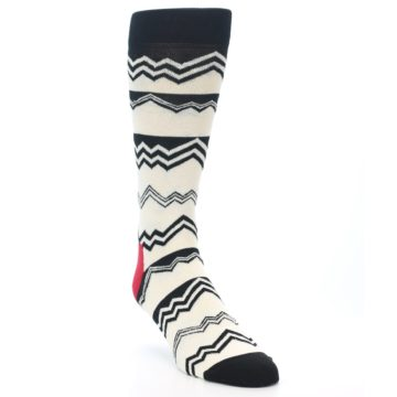 Image of Black White Zig-Zag Stripe Men's Dress Socks (side-1-front-02)