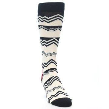 Image of Black White Zig-Zag Stripe Men's Dress Socks (side-1-front-03)