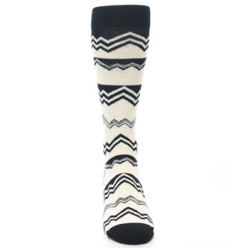 Image of Black White Zig-Zag Stripe Men's Dress Socks (front-04)