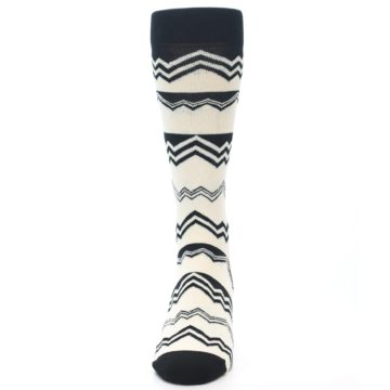 Image of Black White Zig-Zag Stripe Men's Dress Socks (front-05)