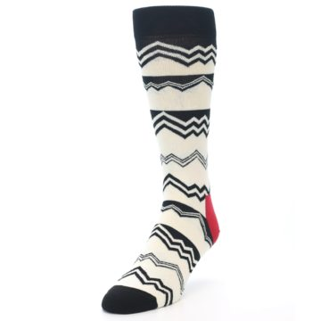Image of Black White Zig-Zag Stripe Men's Dress Socks (side-2-front-07)