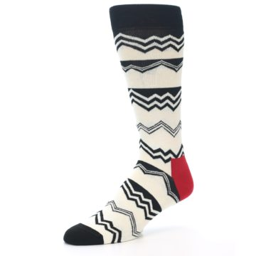 Image of Black White Zig-Zag Stripe Men's Dress Socks (side-2-09)