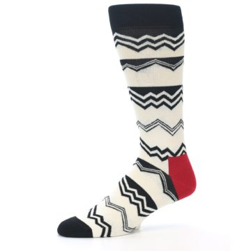 Image of Black White Zig-Zag Stripe Men's Dress Socks (side-2-10)