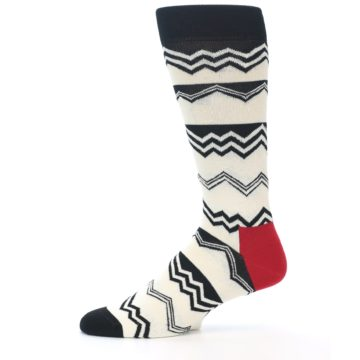 Image of Black White Zig-Zag Stripe Men's Dress Socks (side-2-11)