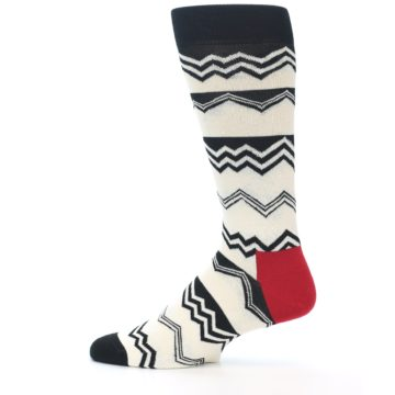 Image of Black White Zig-Zag Stripe Men's Dress Socks (side-2-12)