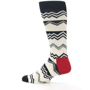 Image of Black White Zig-Zag Stripe Men's Dress Socks (side-2-13)