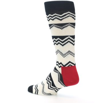 Image of Black White Zig-Zag Stripe Men's Dress Socks (side-2-back-14)