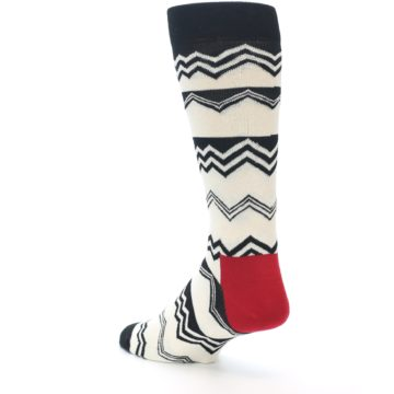 Image of Black White Zig-Zag Stripe Men's Dress Socks (side-2-back-15)