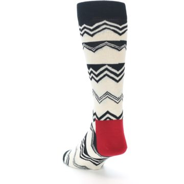 Image of Black White Zig-Zag Stripe Men's Dress Socks (side-2-back-16)