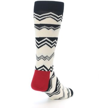 Image of Black White Zig-Zag Stripe Men's Dress Socks (side-1-back-21)
