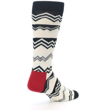 Image of Black White Zig-Zag Stripe Men's Dress Socks (side-1-back-22)