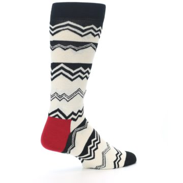 Image of Black White Zig-Zag Stripe Men's Dress Socks (side-1-23)