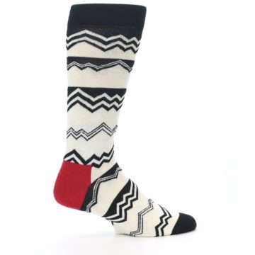 Image of Black White Zig-Zag Stripe Men's Dress Socks (side-1-24)