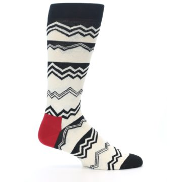 Image of Black White Zig-Zag Stripe Men's Dress Socks (side-1-25)