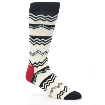 Image of Black White Zig-Zag Stripe Men's Dress Socks (side-1-26)