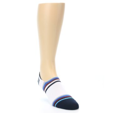 Image of White Black Blue Stripe Men's Liner Socks (side-1-front-02)